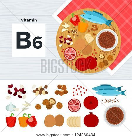 Vitamin B6 vector flat illustrations. Foods containing vitamin B6 on the table. Source of vitamin B6: nust, fish, paprica, potato, garlic, pomegranate isolated on white background