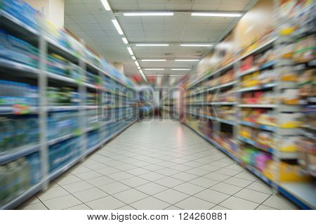 Empty Supermarket Aisle Motion Blur