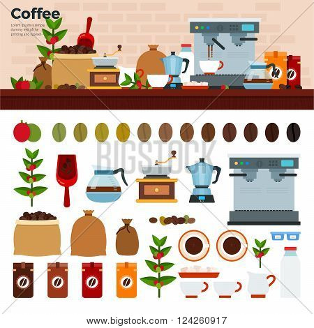 Coffee shop vector flat illustrations. Coffee house with coffee machine, seeds, cups and coffee stuff. Cups, seeds, pots, percolator isolated on white background