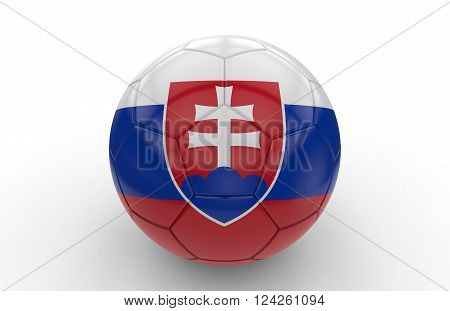 Soccer ball with slovakian flag isolated on white background: 3d rendering