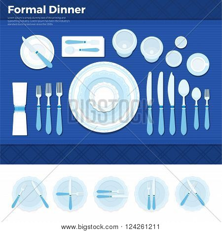 Formal dinner vector flat illustrations. Table served with utensils for formal dinner, plate with forks, spoons and knives on blue cloth. Formal eating concept. Plates with knives isolated on white background.