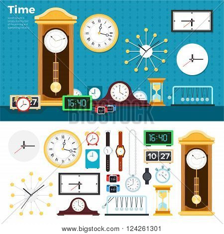 Clocks vector flat illustrations. Many different clocks and watches in the room. Time is passing concept. Mechanical and electric watches and clocks isolated on white background