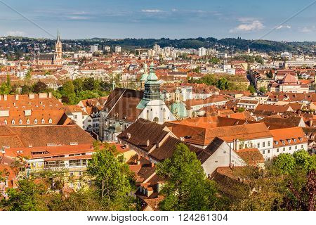 Aerial View Of Graz City Center - Graz Styria Austria Europe