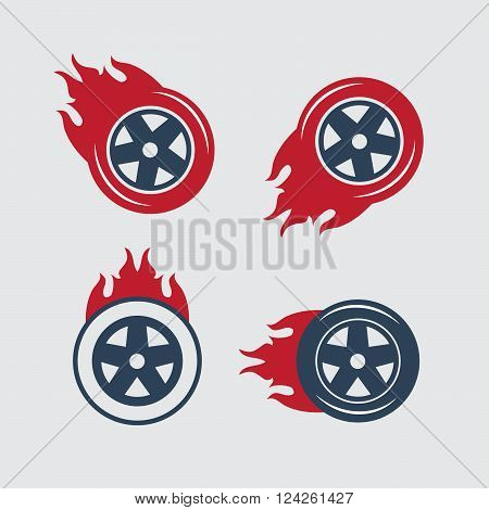 Racing flat labels set. Blaze and flash logo auto transport flame tire