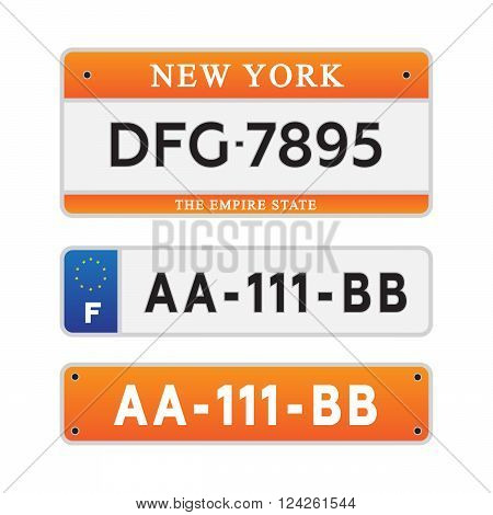 License car number plates. 10 eps vector illustration