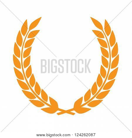 Vector gold award laurel wreath. Winner label leaf symbol victory triumph and success