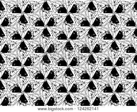 Abstract geometric seamless pattern with paint splashes. Geometry monochrome grid texture. Vector illustration. Ink drips, triangle pieces. Black and white textured wallpaper.
