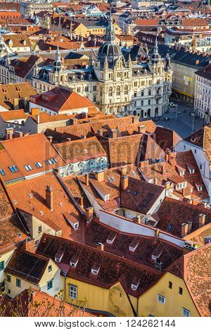 Aerial View Of Town Hall In Graz City Center - Graz Styria Austria Europe