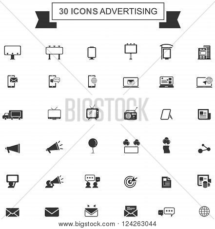 Flat business media advertising or digital internet marketing silhouette icon collection set design create by vector