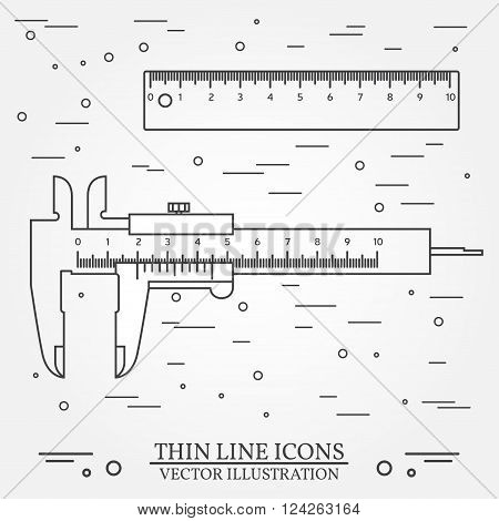 Set Vector Thin Line Icons Calipers And Ruler. For Web Design And Application Interface, Also Useful