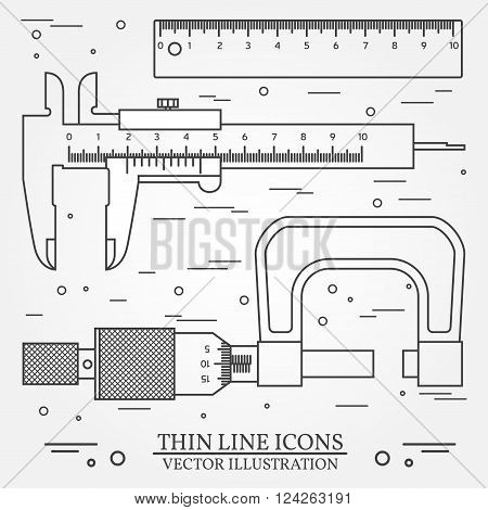 Set Vector Thin Line Icons Caliper, Ruler  And  Micrometer. For Web Design And Application Interface