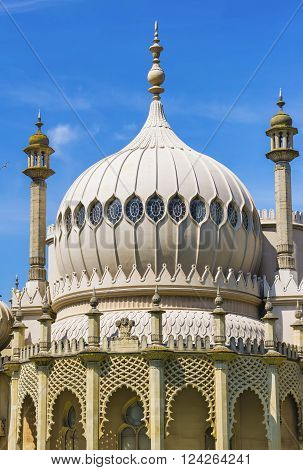 Dome of Royal Pavilion in Brighton in East Sussex of England. It is also called as Brighton Pavilion. It used to be a royal residence in the 18th century.