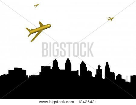 abstract planes departing Philadelphia illustration