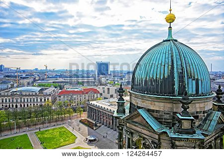 Panoramic view from Berlin Cathedral to Museum Island in Berlin in Germany. It is placed in the Mitte borough.