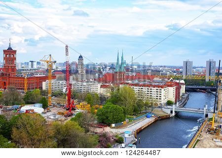 Panoramic view of Berlin to Spree River Red City Hall St Nicholas Church and Old City Hall. View from Berlin Cathedral.