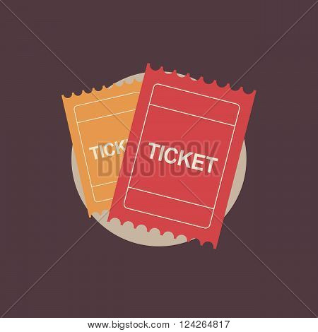 Ticket logo vintage. Ticket icon in flat style. Ticket retro logo