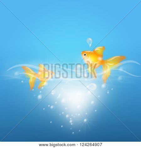 Illustration of two goldfish in blue water with bubbles