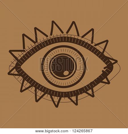 Hand drawn indian aztec tribal eye . 10 eps vector illustration