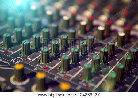 Sound Mixer Control Panel, Close-up Audio Controls