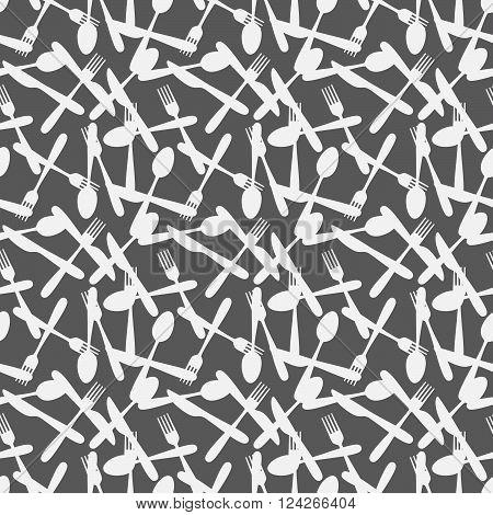 Seamless Kitchen Cutlery Silverware Silhouette Pattern Background