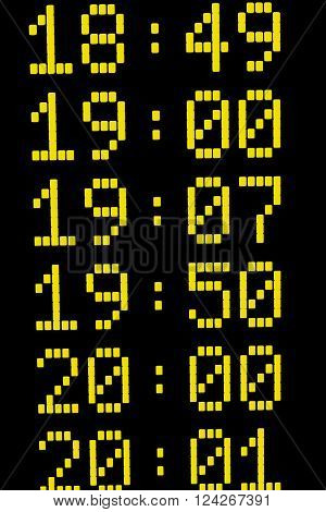 Close up of times on departure or arrival board for trains or other means of transport