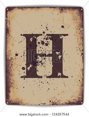 Retro tin plate style poster with capital letter H monogram. EPS10 vector format