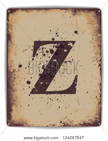 Retro tin plate style poster with capital letter Z monogram. EPS10 vector format