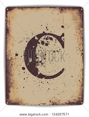 Retro tin plate style poster with capital letter C monogram. EPS10 vector format