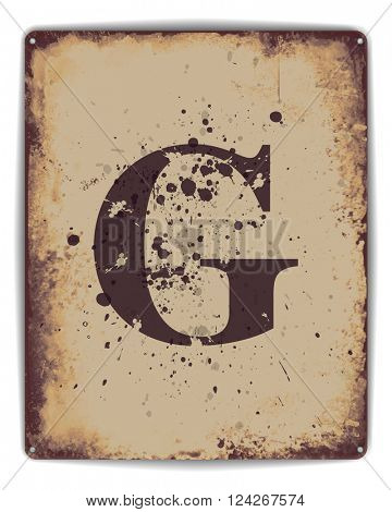 Retro tin plate style poster with capital letter G monogram. EPS10 vector format