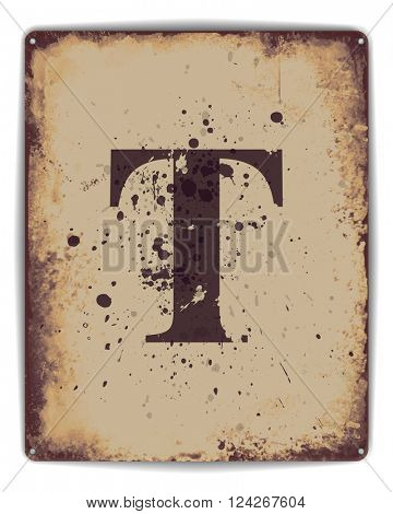 Retro tin plate style poster with capital letter T monogram. EPS10 vector format
