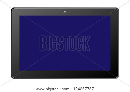 A dark tablet with a blue screen