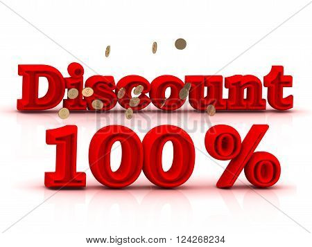 100 PERSENT DISCOUNT HOT PRICE Bright red keywords isolated on white background