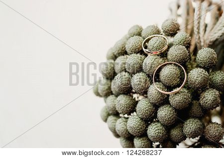 Set of wedding gold rings on grey bouquet of brunia flowers in vase. rustic style on craft white wall background.
