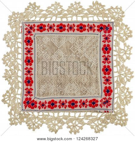 Hand-Knitted linen table napkin with ornament isolated