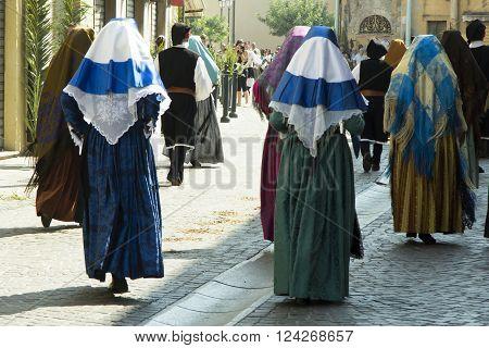 SELARGIUS, ITALY - 2012 September 9: Ancient Marriage Selargino 2012 - Folk group