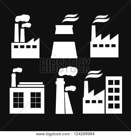 Set of industry manufactory building icons. Plant and factory power and smoke oil and energy nuclear manufacturing station.