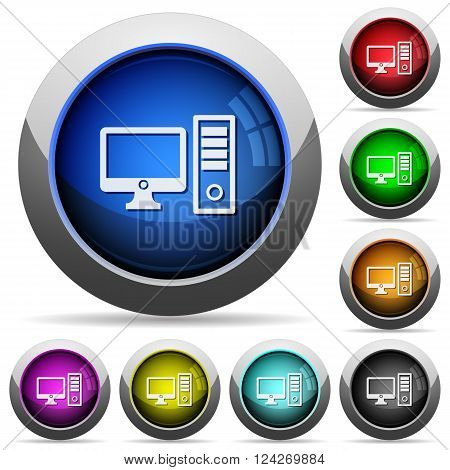 Set of round glossy desktop computer buttons. Arranged layer structure.