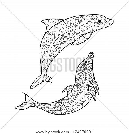 Dolphin sea animal coloring book for adults vector illustration. Anti-stress coloring for adult. Zentangle style. Black and white lines. Lace pattern