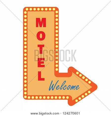 Neon vintage motel sign light bulbs. Welcome sign signboard or billboard