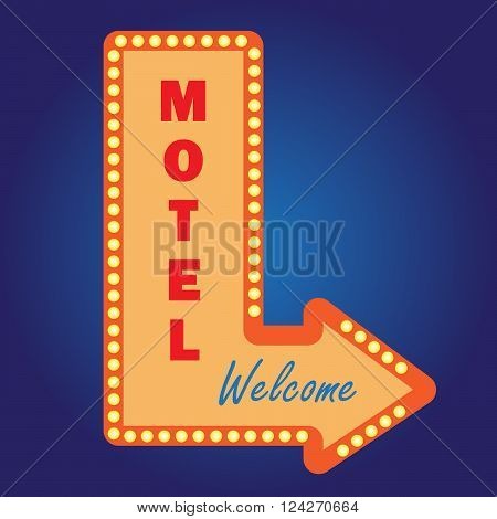 Neon vintage motel signwith light bulbs. 10 eps vector illustration