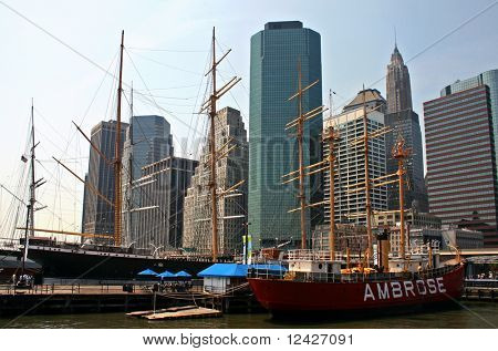 South Street Seaport historic ships in New York City