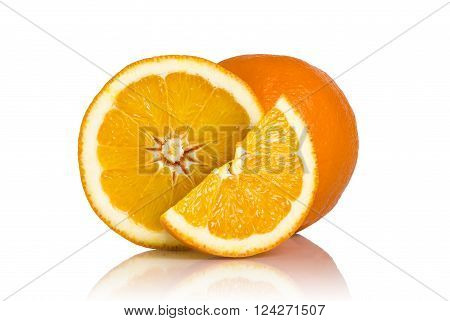 Studio shot of whole orange cross section and a slice of an orange fruit isolated on white background. All in focus using focus stacking technique