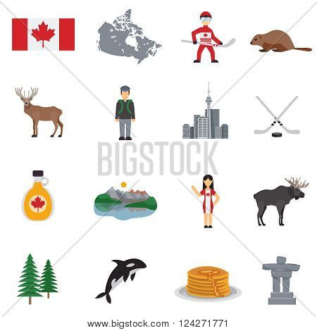 Canada flat icons set  with map flag hockey lakes maple syrup tower and animals isolated vector illustration