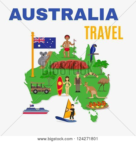 Australia travel map poster with animals food people transport at green continent on white background vector illustration