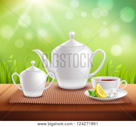 Elements of tea service composition with teapot sugar bowl and cup on wooden table vector illustration