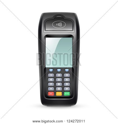 Single payment terminal for retail sale service on white background in realistic style isolated vector illustration