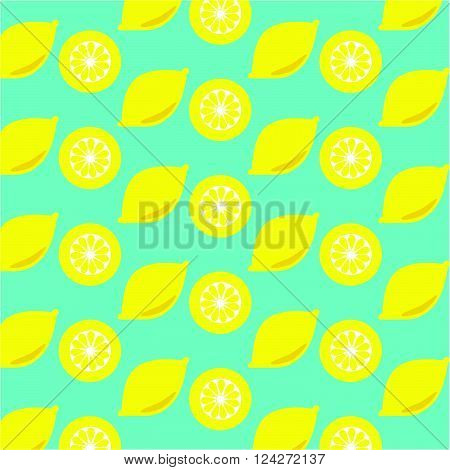 Lemon and lemon slices seamless on cyan color background