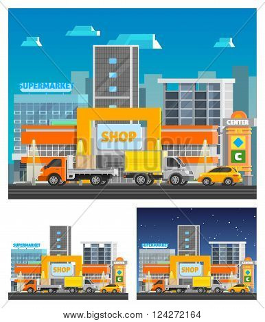 Shopping center building orthogonal compositions set with equipment and clothes symbols flat isolated vector illustration