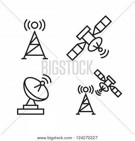 Orbit communication satellite line icons. 10 eps vector illustration