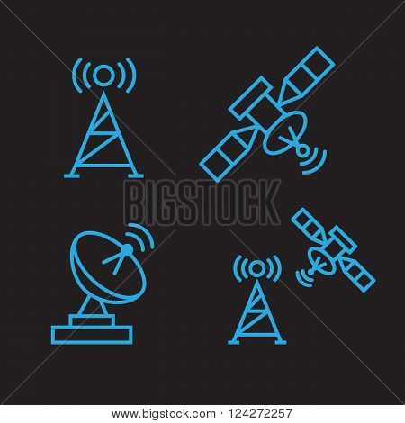 Orbit communication satellite vector line icons. 10 eps vector illustration